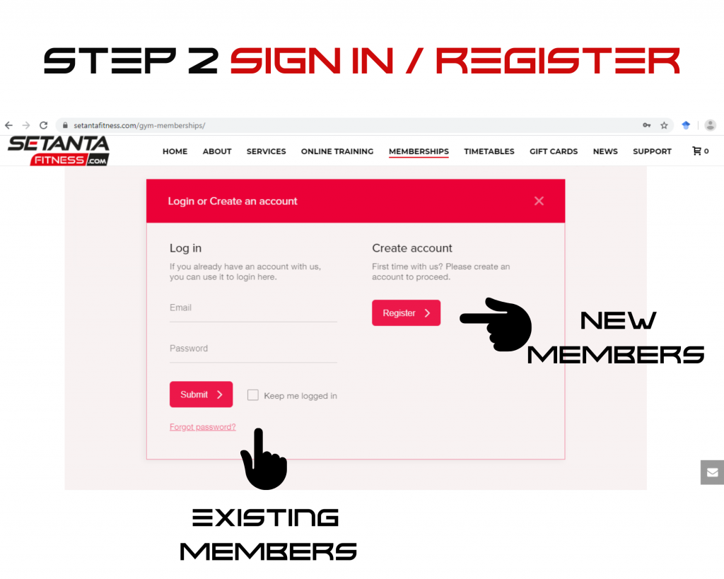 Step 2 Website Sign up